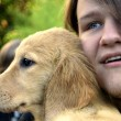 Teen Boy And Golden Puppy 1 — Stock Photo