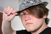 Teen Boy Tipping Hat — Stock Photo
