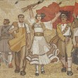 Albanian nationalistic mural in tirana albania - Stock Photo