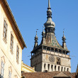 Rooftops of sighisoara in romania - Stock Photo