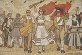 Albanian nationalistic mural in tirana albania — Stock Photo