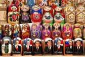 Russian political matrioshka dolls in baku azerbaijan market — Stock Photo