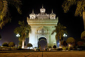 Patuxai arch at night in vientiane, laos — Stock Photo