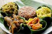 Vegetarian curry with rice in bali indonesia — Stock Photo