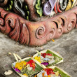 Offerings in temple bali indonesia — Stock Photo