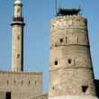 Tower and minaret in old fort area of dubai — Stock Photo
