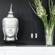 Stock Photo: Contemporary interior design detail with buddhimage and flower