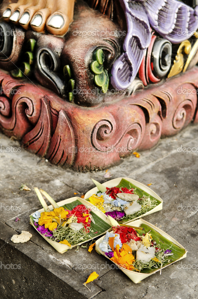 Offerings in temple bali indonesia — Stock Photo #10404546