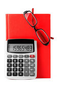 Diary, glasses and calculator — Stock Photo