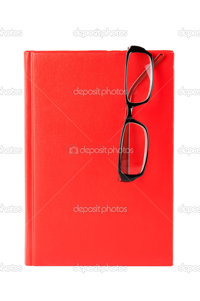 Red book and glasses  on a white background with blank space for your text  Stock Photo #10414991