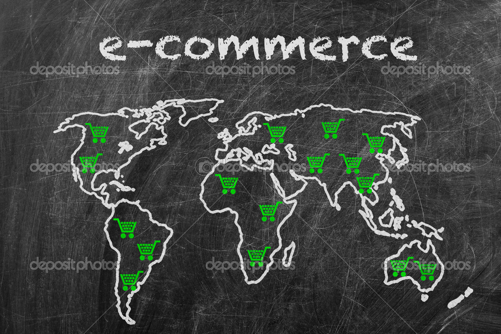 E-commerce business written on a blackboard with world map sign — Stock Photo #10494993