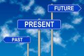 Past Present Future sign — Stockfoto