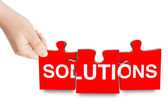 Solutions sign puzzle — Stock Photo
