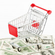 Shopping cart and dollars — Stockfoto