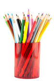 Many pencils in red cup — Stock Photo