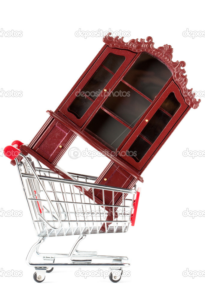 Shopping cart with sideboard on the white background — Stock Photo #8310847