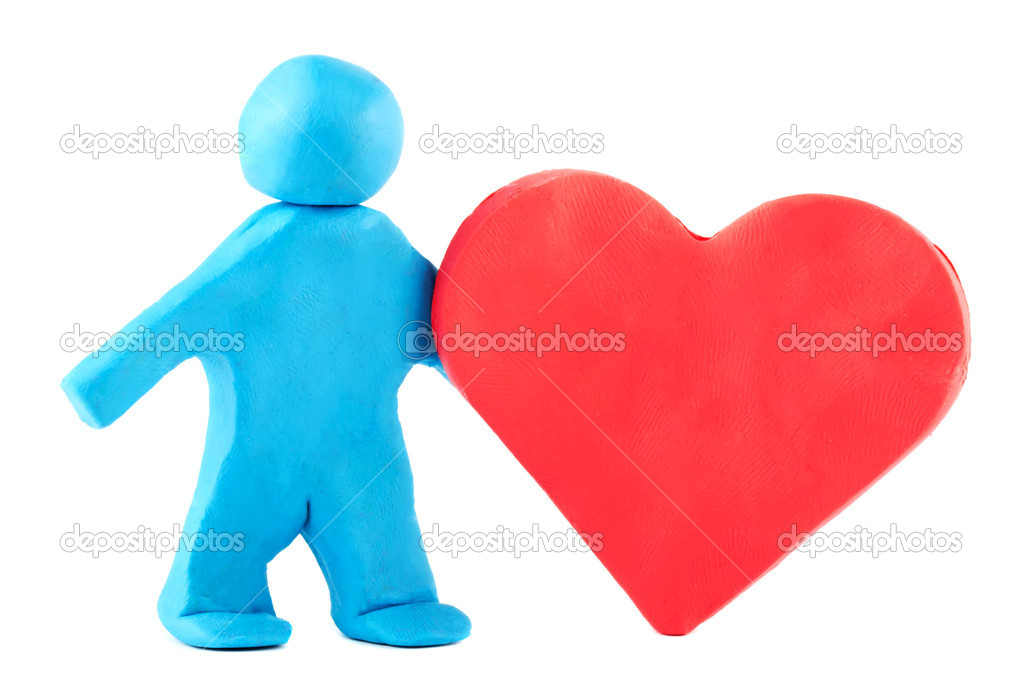 Plasticine man with plasticine heart on the white background — Stock Photo #8423871