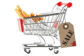 Stack of cigarettes in the shopping cart — Foto de Stock