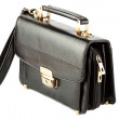 Mans black leather bag — 图库照片