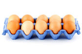 Eggs in carton box — Stock Photo
