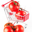 Perfect tomatoes in shopping cart - Photo