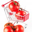 Perfect tomatoes in shopping cart - Stok fotoraf