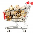 Shopping Cart with Quail Eggs — Stock Photo #8553357