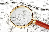 Magnifier with weather map — Stock Photo