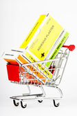 Shopping cart with first aid kit — Stock Photo