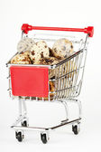 Shopping Cart with Quail Eggs — Stock Photo