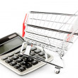 Stock Photo: Calculator with shopping cart.