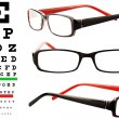 Reading glasses with eye chart - Stok fotoraf
