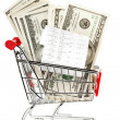 Receipt and cash in shopping cart — Foto Stock