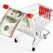 Shopping cart and dollars - Stock Photo