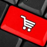 Shopping cart icon button — Stock Photo