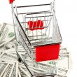 Shopping cart and dollars — Stockfoto #8920121