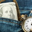 Money and watch in a jeans — Stock Photo #9024304