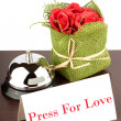 Press for Love Sign at Hotel - Stock Photo