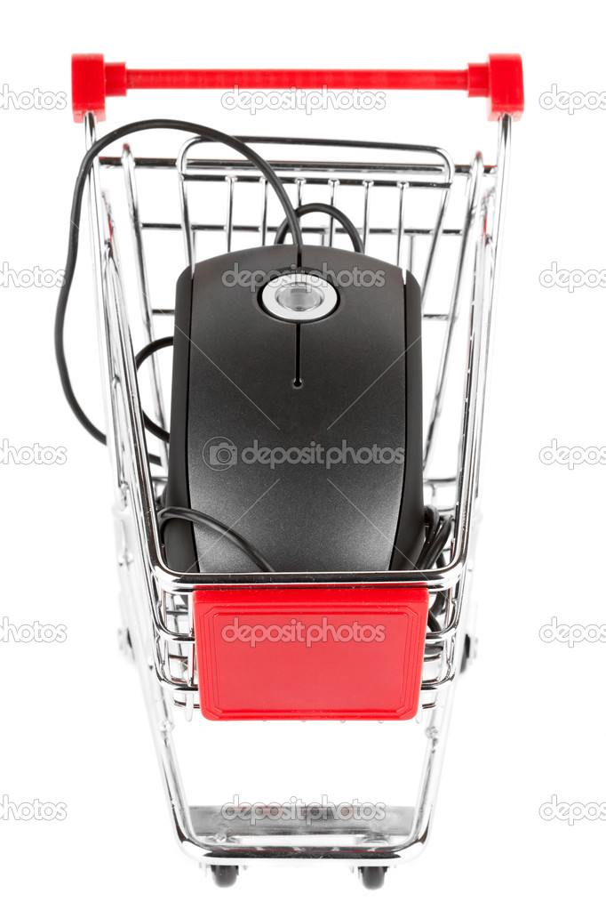 Online Internet Shopping. Shopping Trolley with Mouse on the white — Stock Photo #9194529