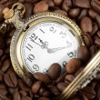Pocket watch in coffee — Stock Photo