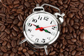 Alarm clock on a coffee — Foto de Stock