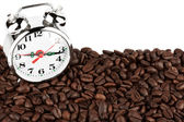 Alarm clock on a coffee — Stock fotografie