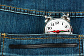 Watch in pocket of jeans — Stock Photo