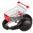 Royalty-Free Stock Photo: Shopping cart with headphones