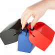 Boxes Set in the hands — Stockfoto
