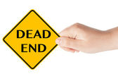 Dead end traffic sign with hand — Stockfoto