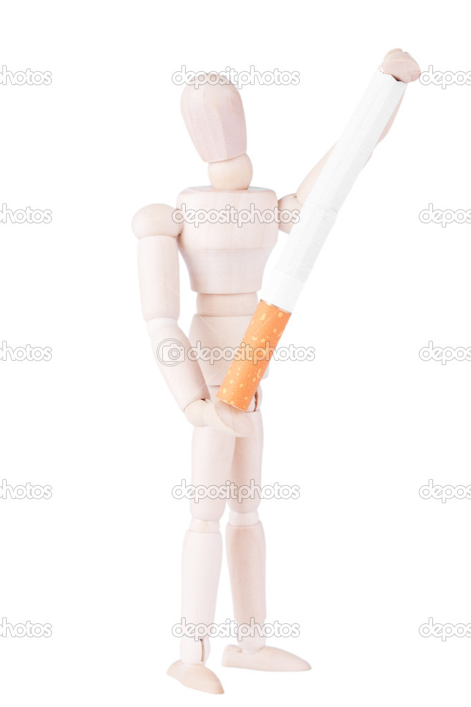 Closeup dummy with cigarette on the white background  Stock Photo #9723862
