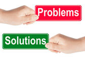 Problems and Solutions traffic sign in the hand — Stock Photo