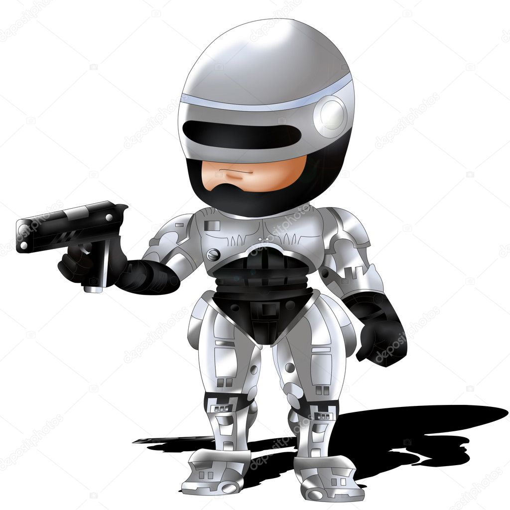 Robocop in chibi version.  Stock Photo #9719596