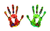 Color hand prints isolated on white — Stok fotoğraf